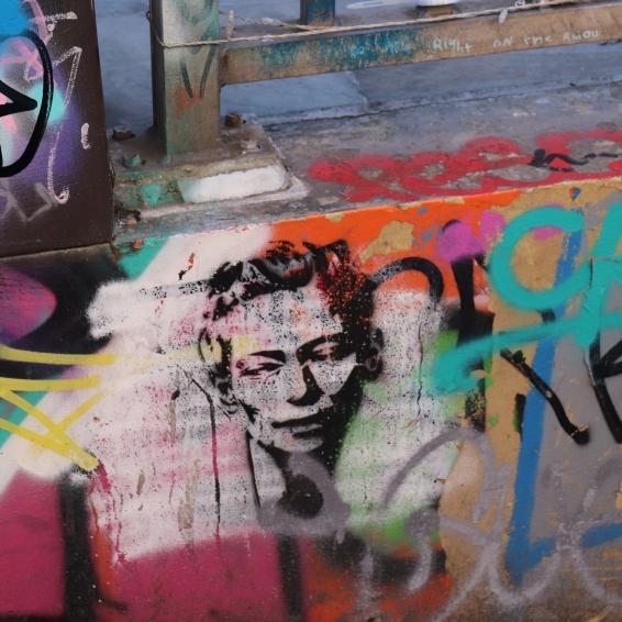 Celebrity spotted Tilda Swinton stencil Graffiti in Leake St, Waterloo, London