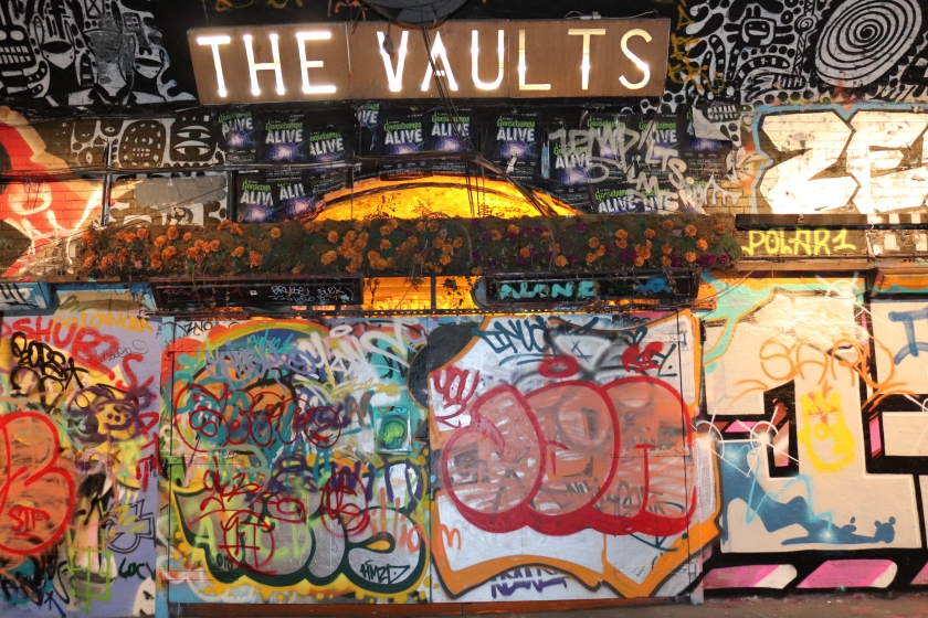 The Vaults at Leake Street Arches, Waterloo, London.. Graffiti on the exterior, interactive theatre experience inside.