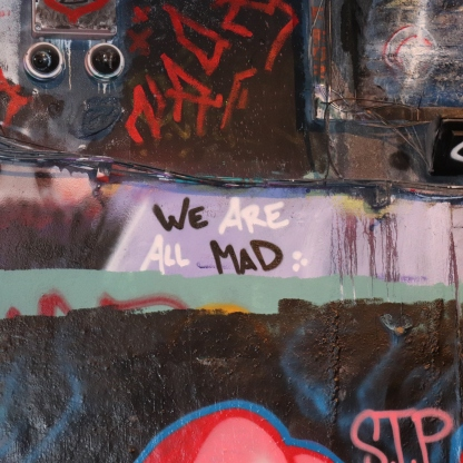 Mental Health awareness shown through graffiti in Leake St, London.. We are all mad / follow your heart.