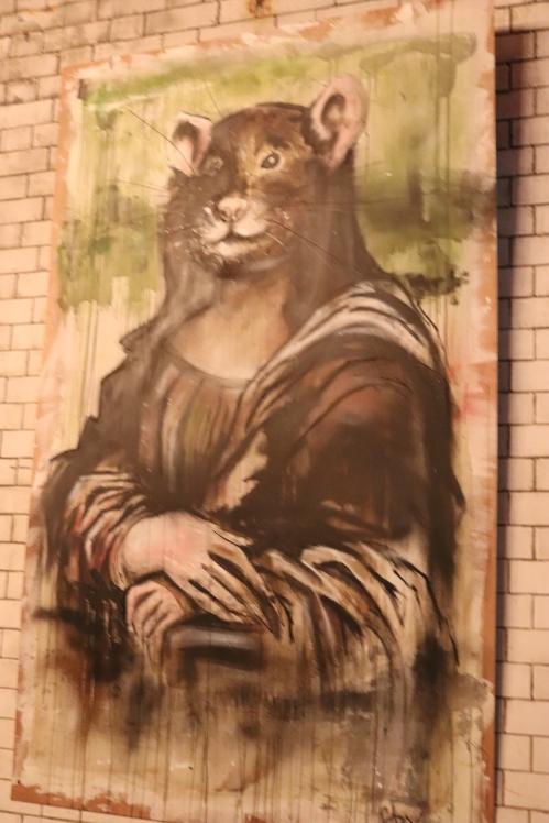 A rodent twist on the masterpiece - The Mona Lisa by Leonardo Da Vinci at The Rat Bar, London.