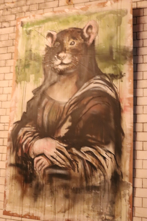 A rodent twist on the masterpiece - The Mona Lisa by Leonardo Da Vinci at The Rat Bar, London.