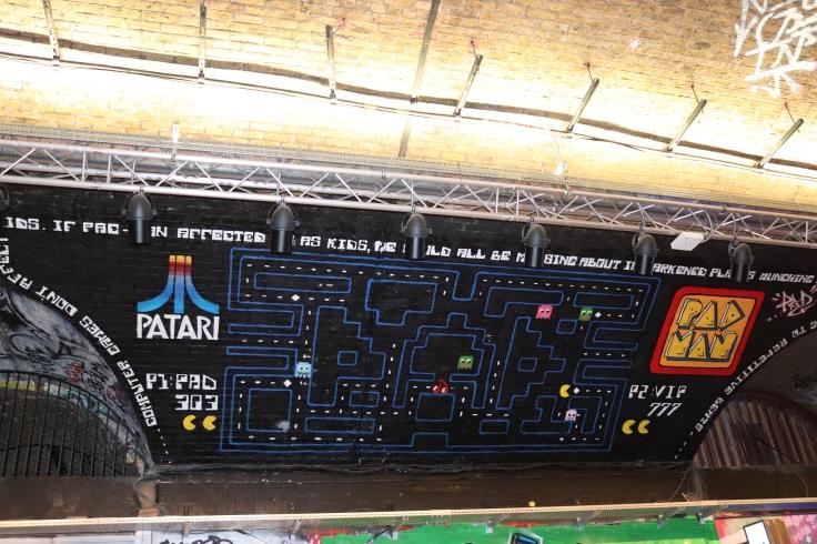 Graffiti of Pac-Man, Leake St, Waterloo, London