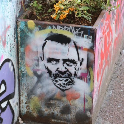 Celebrity spotted Anthony Hopkins Graffiti stencil at Leake St, London. City Street Art