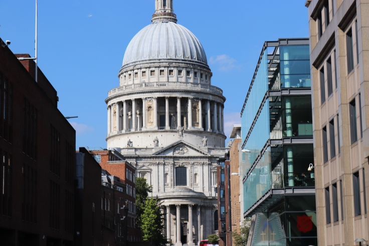 St Paul's Cathedral taken from the side closest to the River Thames. Summer 2018, London, England, UK.