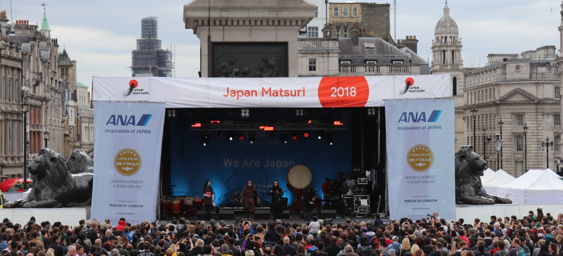 Japan Matsuri 30th September 2018 held in Trafalgar square London. Celebrating UK-Japan relations.