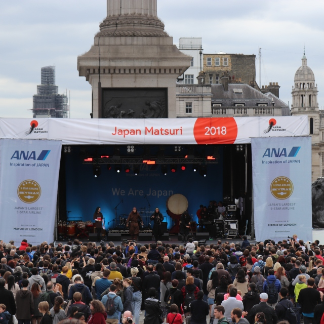 Japan Matsuri 30th September 2018 held in Trafalgar square London. Celebrating UK-Japan relations.