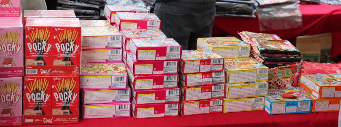 Japanese sweets pocky matcha, chocolate, watermelon