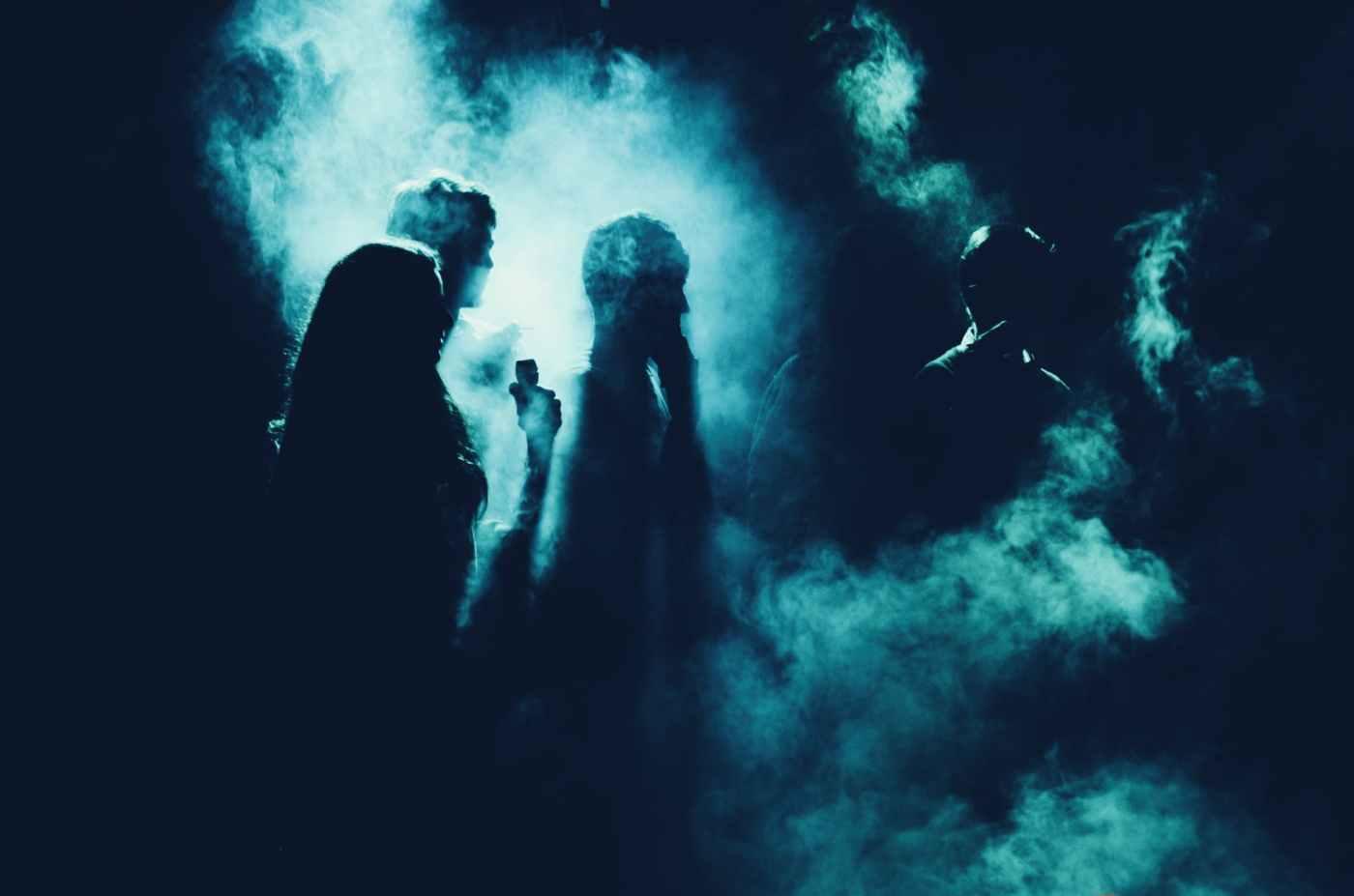 backlit dark light people Halloween 2018 Octoberfancy dress costumes